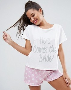 Пижамный комплект с футболкой и шортами  Here Comes The Bride ASOS BRIDAL - Мульти
