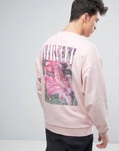 Oversize-свитшот с цветочным принтом и надписью Nirvana на спине ASOS - Розовый