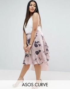 Атласная юбка с кружевом и цветочным принтом ASOS CURVE - Мульти