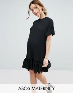 Платье-футболка с рюшами по краю ASOS Maternity - Черный