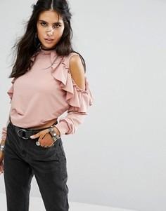 Свитшот с высокой горловиной, открытыми плечами и оборками Glamorous - Розовый