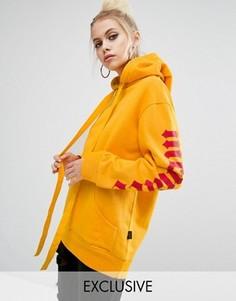 Худи-oversize с принтом Menace на рукавах Adolescent Clothing - Желтый