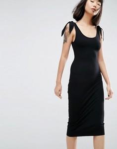 Платье миди в рубчик с завязками на плечах ASOS - Черный