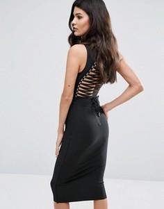 Бандажное платье миди с высокой горловиной и шнуровкой сзади WOW Couture - Черный