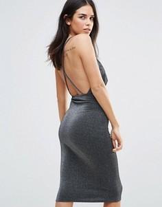 Облегающее платье с глубоким вырезом и перекрестными бретельками Oh My Love - Серый
