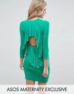 Платье мини с оборкой на спине ASOS Maternity - Зеленый