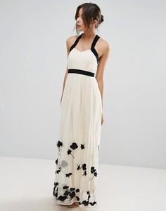 Платье макси с цветочной аппликацией Little Mistress - Бежевый