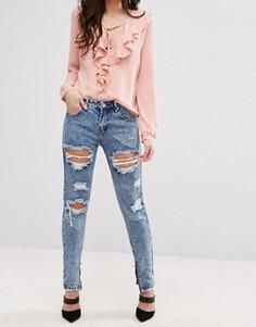 Рваные джинсы из мраморного денима Glamorous - Синий