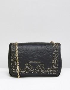 Сумка на плечо с заклепками Versace Jeans - Черный