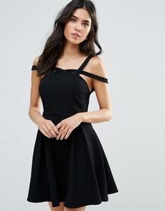 Короткое приталенное платье на двойных лямках Oh My Love - Черный