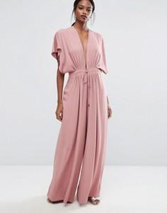 Комбинезон с глубоким вырезом и широкими штанинами AQ/AQ - Розовый