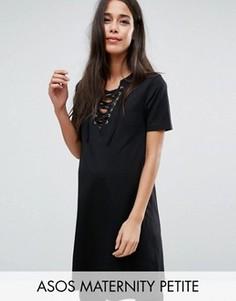 Платье-футболка со шнуровкой спереди ASOS Maternity PETITE - Черный