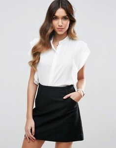 Блузка без рукавов с оборками ASOS - Белый