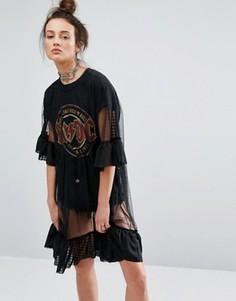 Платье с сетчатыми вставками и рюшами по краям The Ragged Priest - Черный