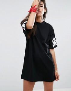 Платье-футболка в стиле oversize с принтом Its Over ASOS - Черный