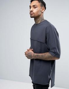 Oversize-футболка с рукавами летучая мышь и необработанными краями ASOS - Серый