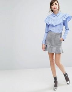 Мини-юбка с баской по низу E.F.L.A - Серый