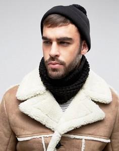 Черный вязаный шарф-снуд ASOS - Черный