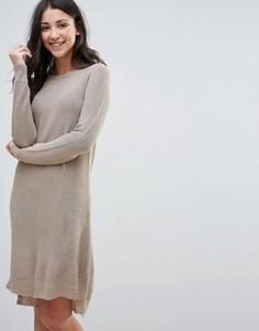 Платье-джемпер с молнией на спине Brave Soul - Бежевый
