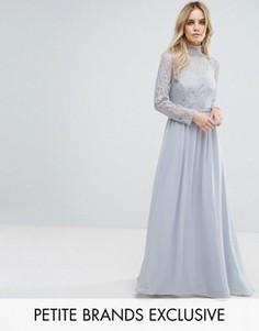 Платье макси с кружевным верхом John Zack Petite - Серый