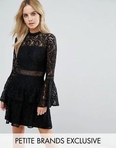 Ярусное кружевное платье мини для выпускного премиум-класса John Zack Petite - Черный