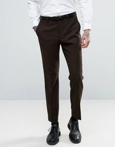 Брюки узкого кроя на основе шерсти Burton Menswear - Коричневый