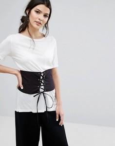 Пояс-корсет на шнуровке спереди Neon Rose - Черный