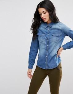 Состаренная джинсовая рубашка Blend She - Синий