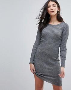 Облегающее платье в рубчик Brave Soul - Серый