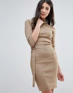 Платье-джемпер с воротником-поло и поясом Brave Soul - Бежевый