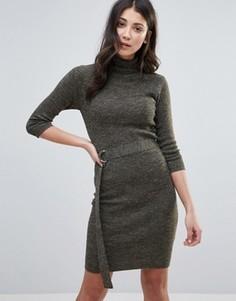 Платье-джемпер с воротником-поло и поясом Brave Soul - Зеленый