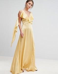 Атласное платье макси с оборками True Violet - Желтый