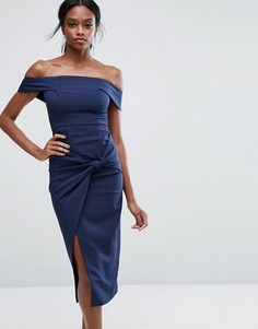 Платье миди с широким вырезом и узлом Lavish Alice - Темно-синий