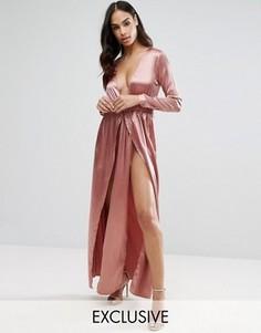 Атласное платье макси с принтом и двумя разрезами NaaNaa - Коричневый