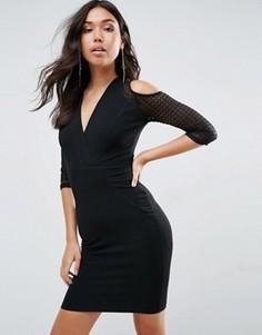 Платье с запахом и открытыми плечами TFNC - Черный