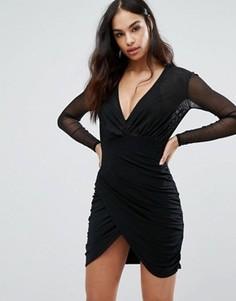 Платье мини с полупрозрачным верхом и асимметричной юбкой Club L - Черный