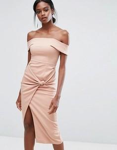 Платье миди с широким вырезом и узлом Lavish Alice - Розовый