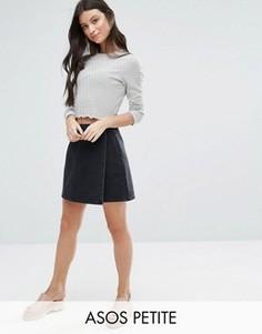 Черная выбеленная джинсовая юбка с запахом ASOS PETITE - Черный