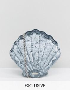Эксклюзивная серая сумка через плечо в виде ракушки из мятого бархата Skinnydip - Серый