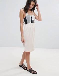Асимметричная юбка Neon Rose - Бежевый