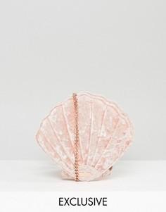 Эксклюзивная розовая сумка через плечо из мятого бархата в виде ракушки Skinnydip - Розовый