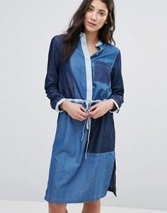 Джинсовое платье-рубашка со вставками Neon Rose - Синий