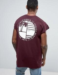Oversize-футболка без рукавов с пальмами ASOS - Красный