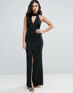 Платье макси с разрезом спереди и кружевной отделкой Jessica Wright - Черный