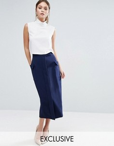 Однотонная юбка-карандаш с карманами Closet London - Синий