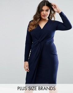 Платье с узелком спереди Club L Plus - Темно-синий