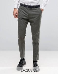 Шерстяные узкие брюки в крапинку Noak - Зеленый