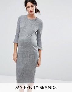 Трикотажное платье с рукавами-клеш New Look Maternity - Серый