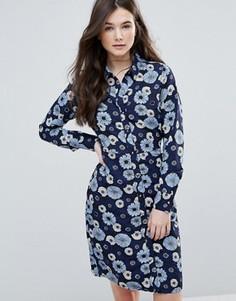 Платье-рубашка с цветочным принтом Brave Soul - Синий