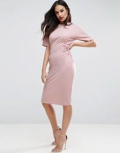 Платье-футболка миди с корсетной отделкой ASOS - Розовый